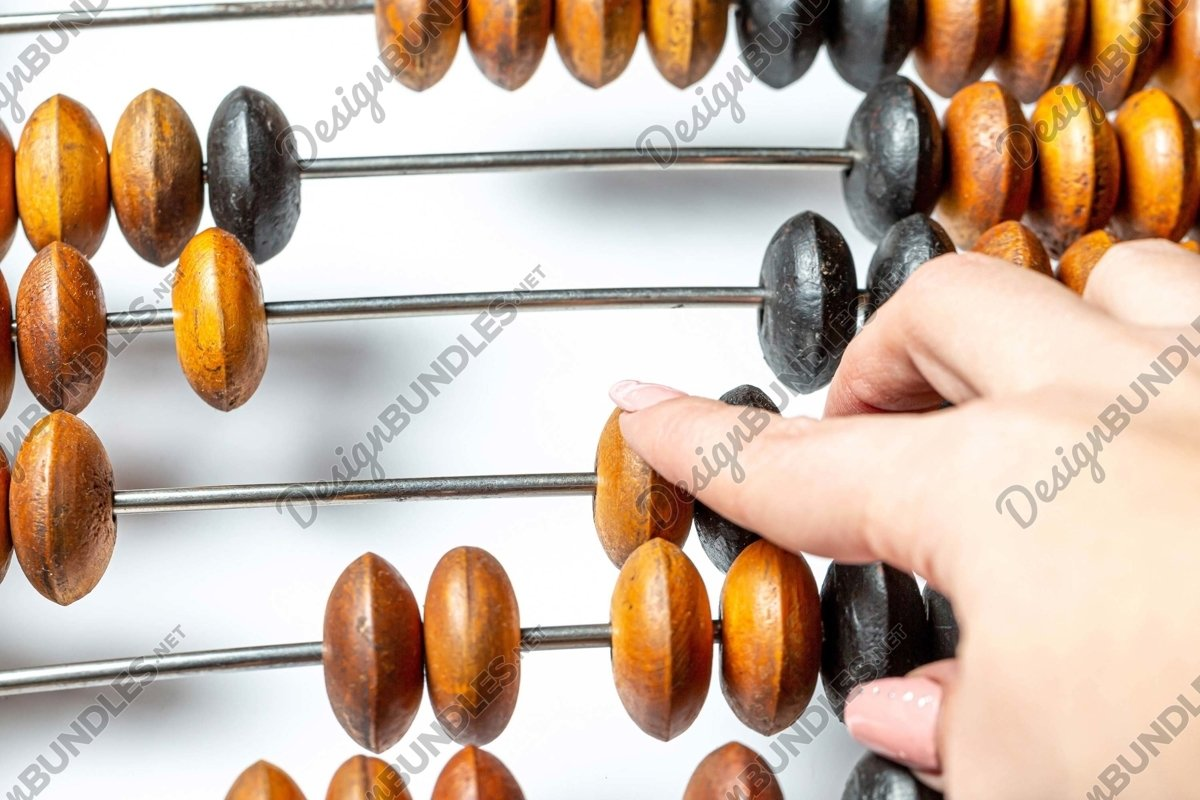 Stock Photo - Hand Using An Abacus example image 1