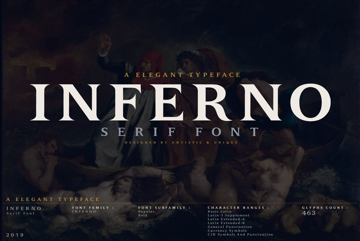 INFERNO Serif font example image 1