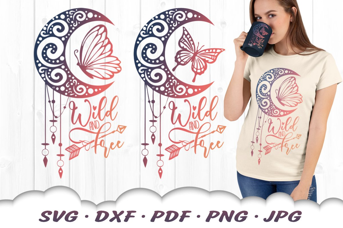 Wild & Free Dreamcatcher Butterfly SVG Bundle DXF Cut Files example image 1