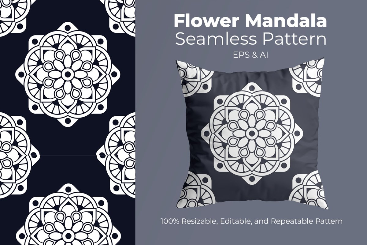 Flower Mandala 2- Seamless Pattern example image 1