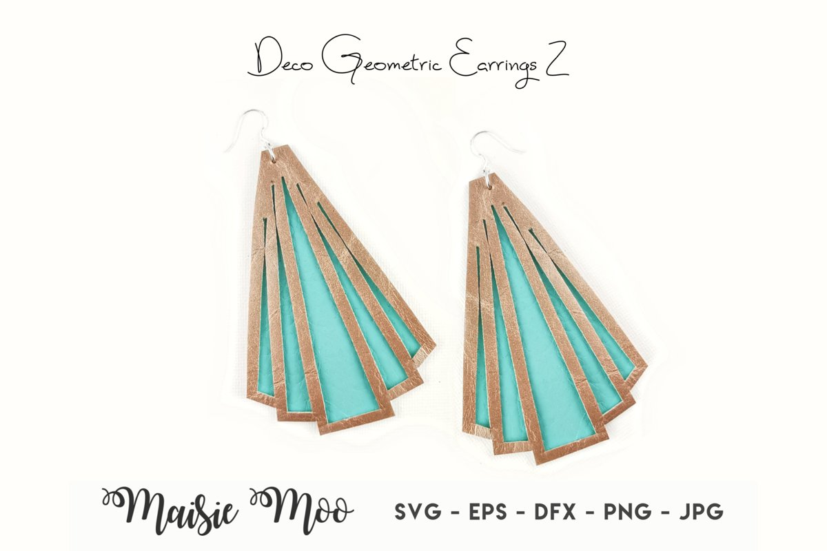 Geometric Earring Templates | Deco Earring SVG | example image 1