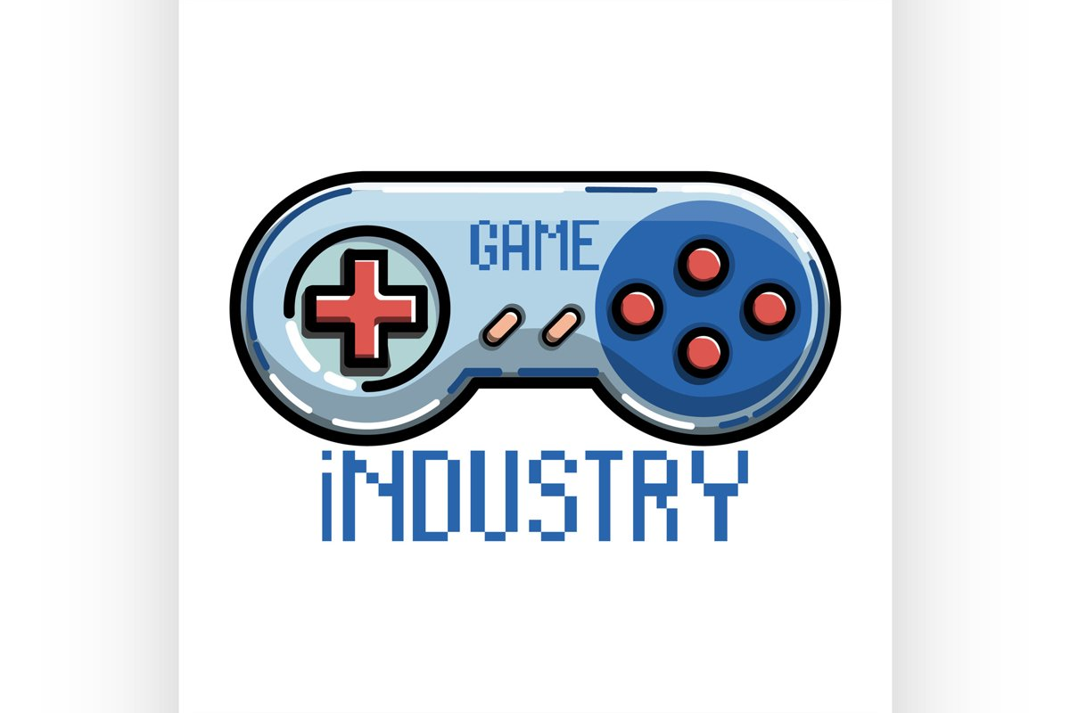 Color vintage game industry emblem example image 1