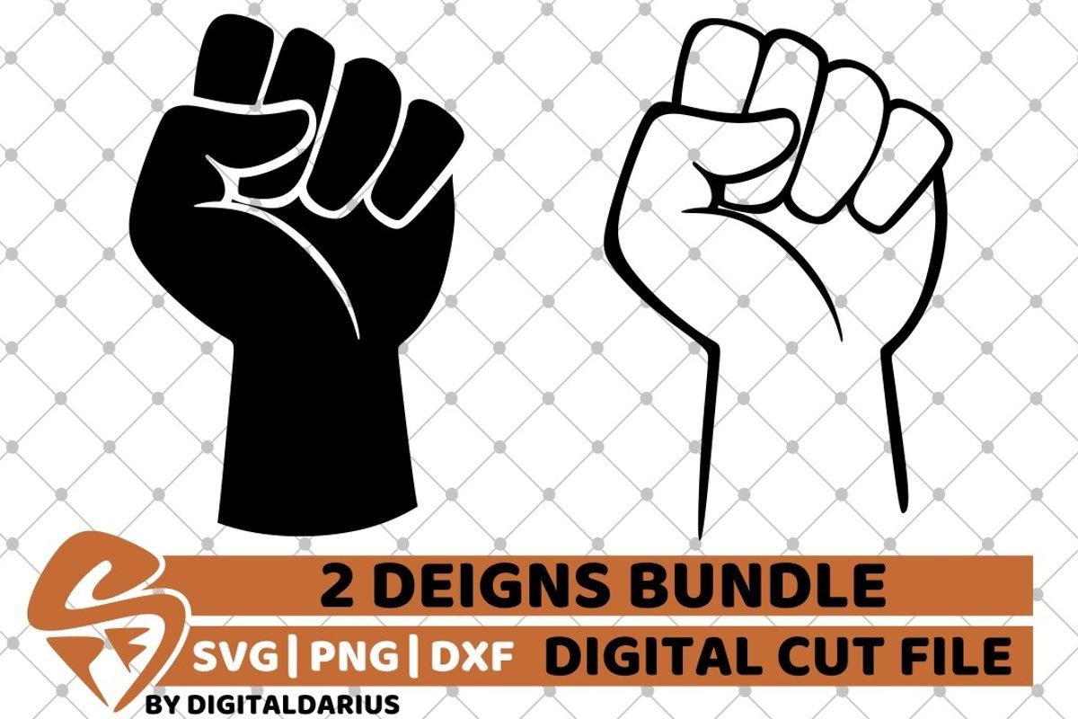 2x Fist Designs Bundle svg, Hand svg, Power svg, Black Man example image 1