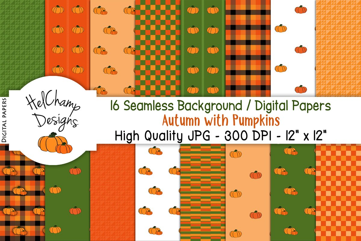 16 seamless Digital Papers - Autumn with Pumpkins - HC001 example image 1