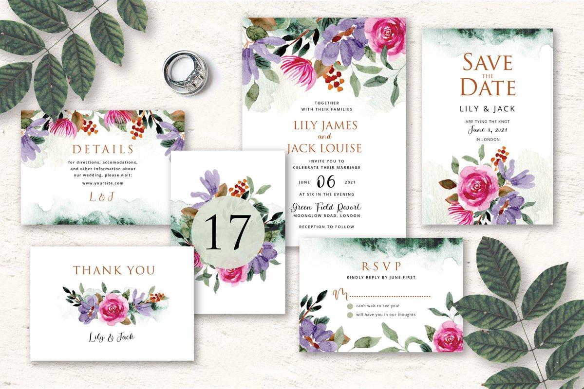 Rustic Floral Wedding Invitation Set example image 1