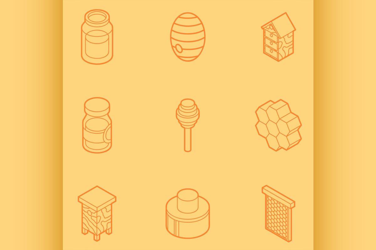 Honey flat outline isometric icons example image 1