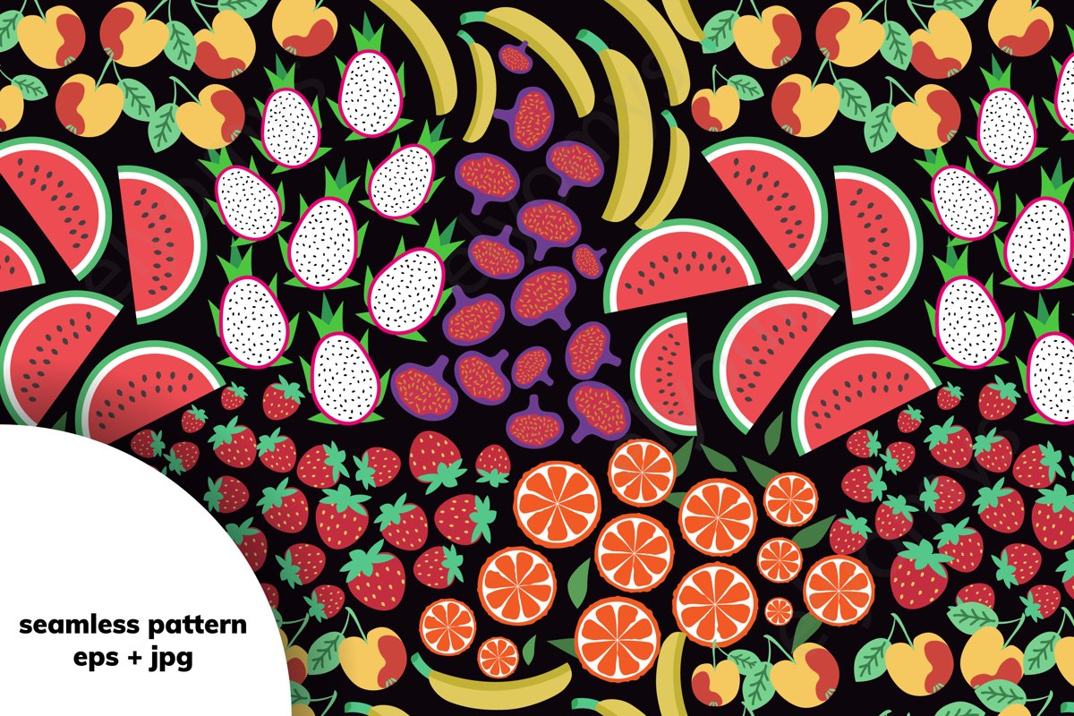 Seamless fruits pattern example image 1