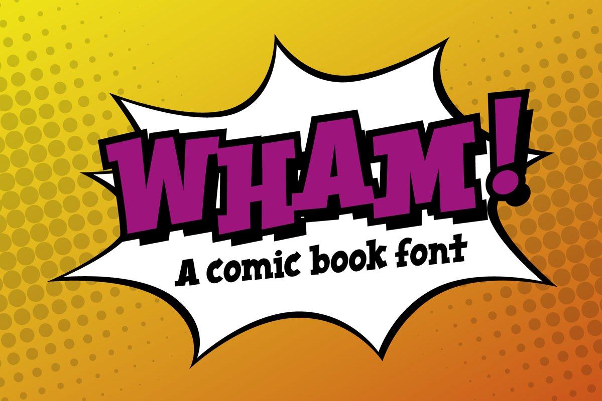 Wham! comic book cartoon font example image 1
