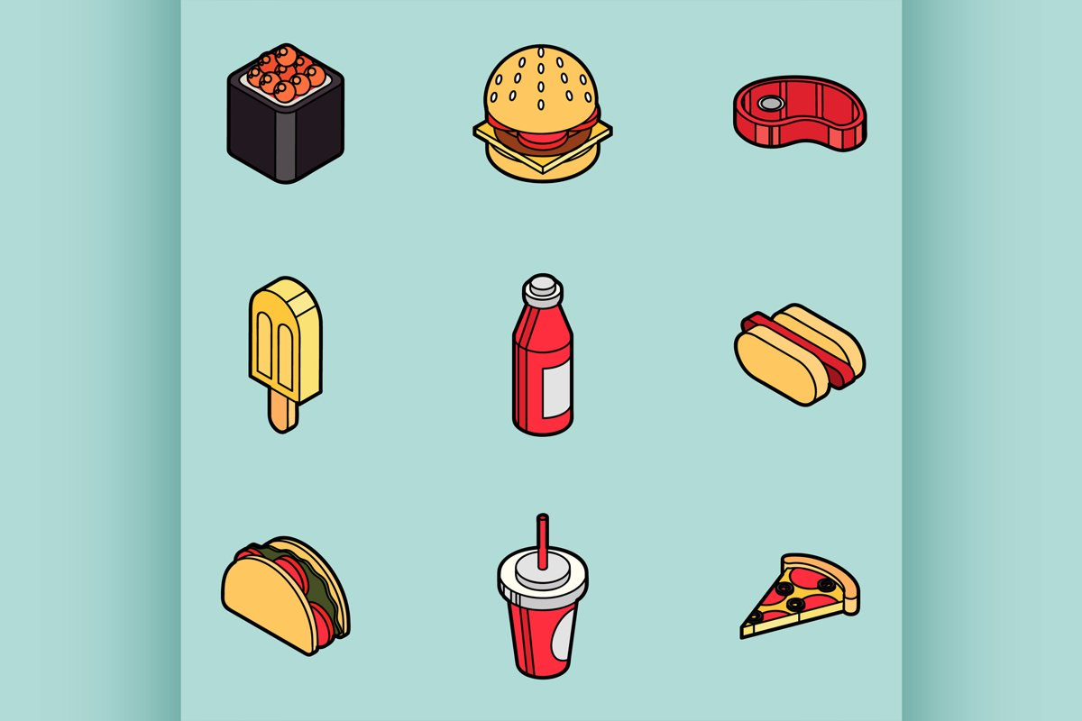 Fast food outline color isometric icons example image 1