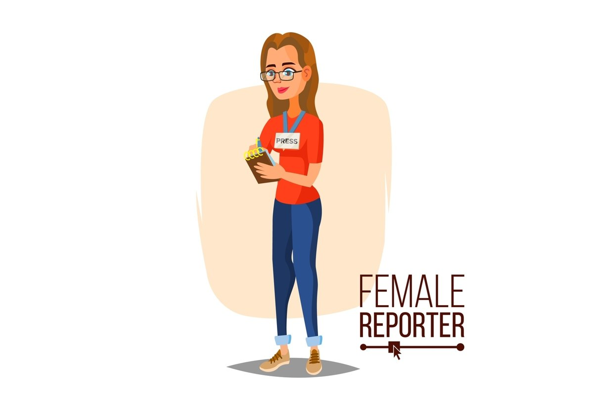 Female Journalist Vector. Microphone. Professional Reporter example image 1