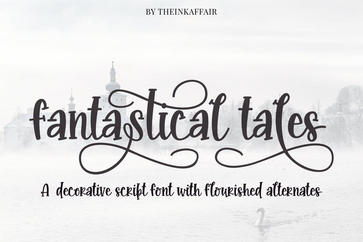 Fantastical tales, decorative script font example image 1