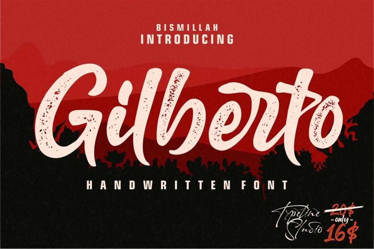 Gilberto letterpress script font example image 1