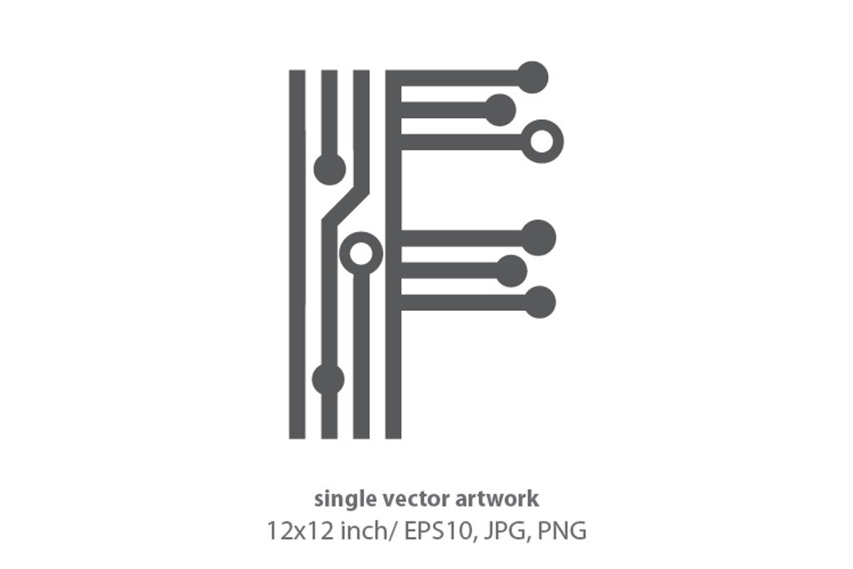 digital letter f- single vector artwork example image 1