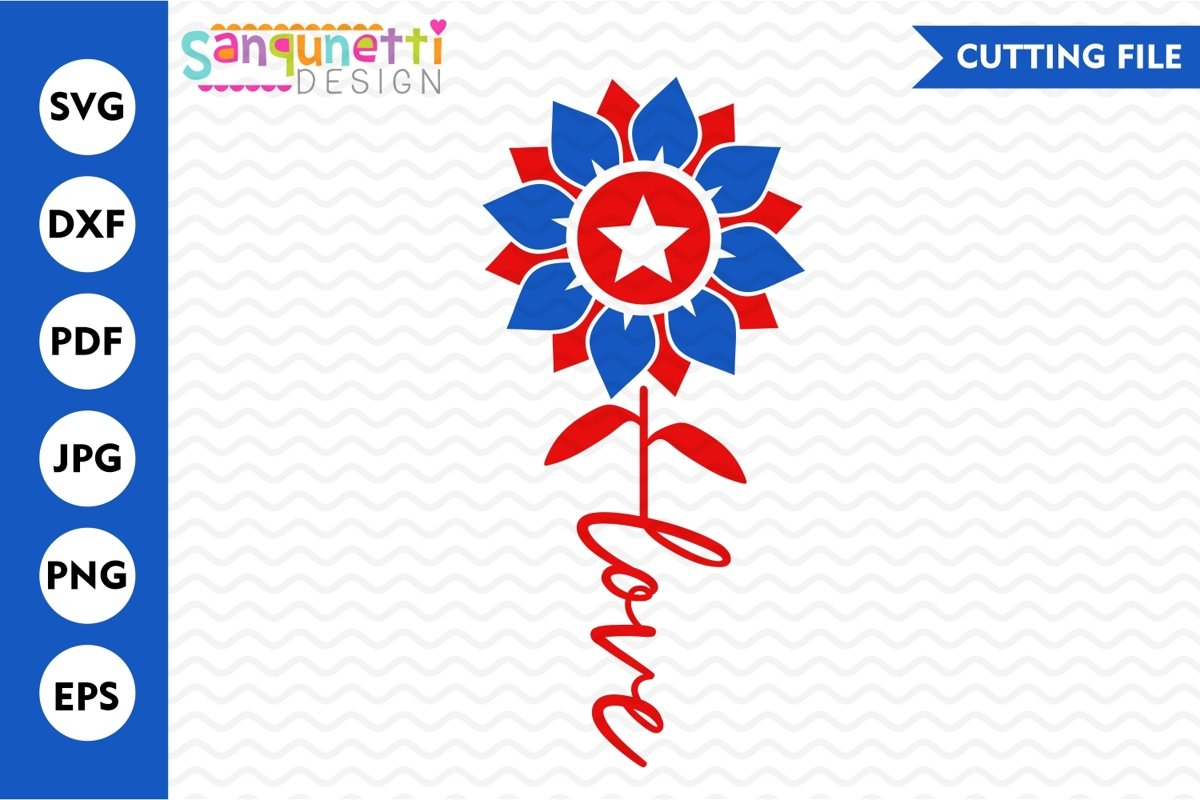 Patroitic Sunflower SVG, love flower cutting file example image 1