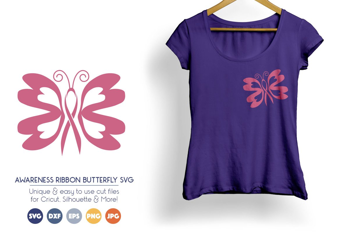Awareness Ribbon Butterfly SVG Cut Files example image 1