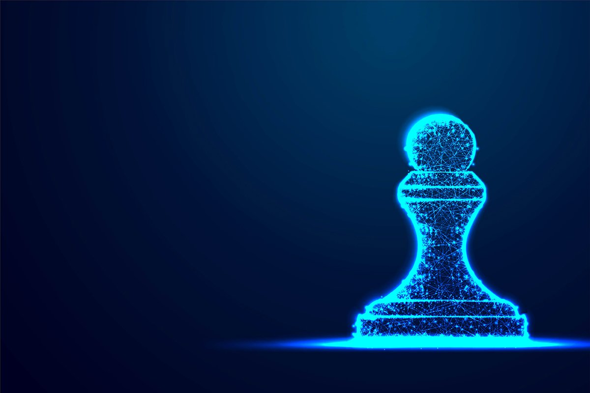 Chess Pawn wireframe Polygon blue frame structure, Business example image 1