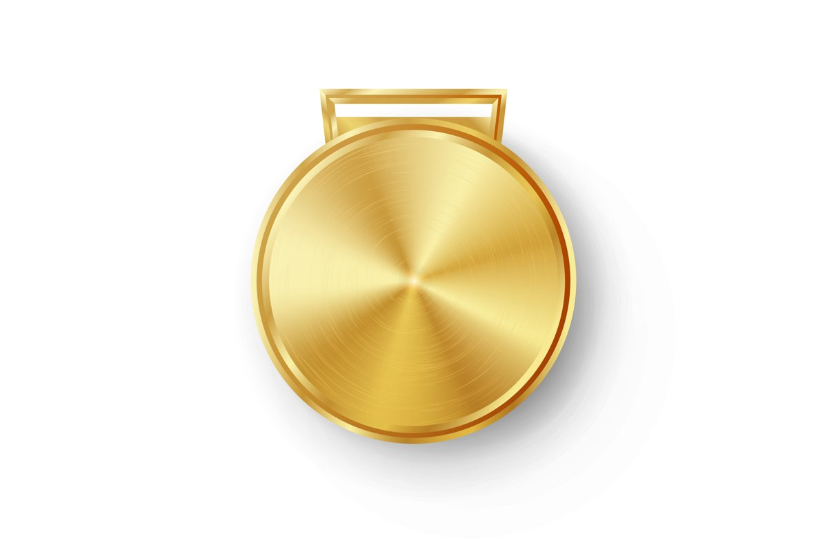 Competition Games Golden Medal Template Vector. Realistic example image 1