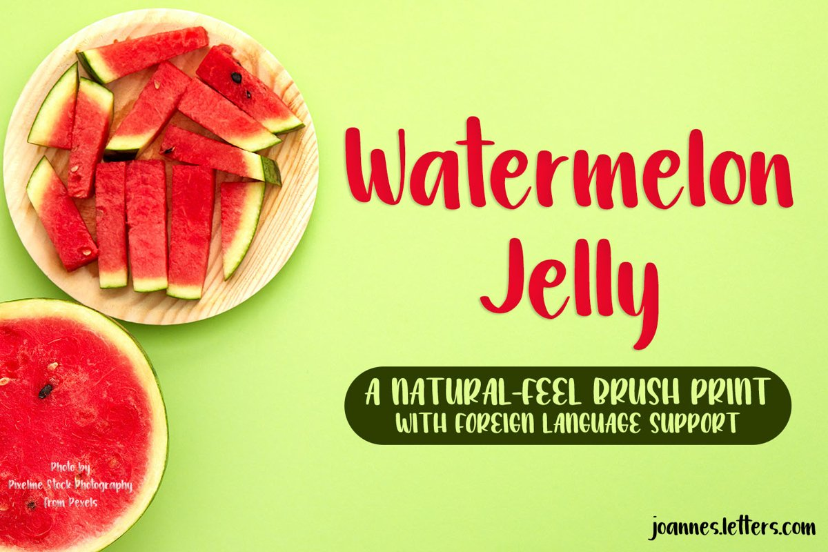 Watermelon Jelly Brush Print Typeface example image 1