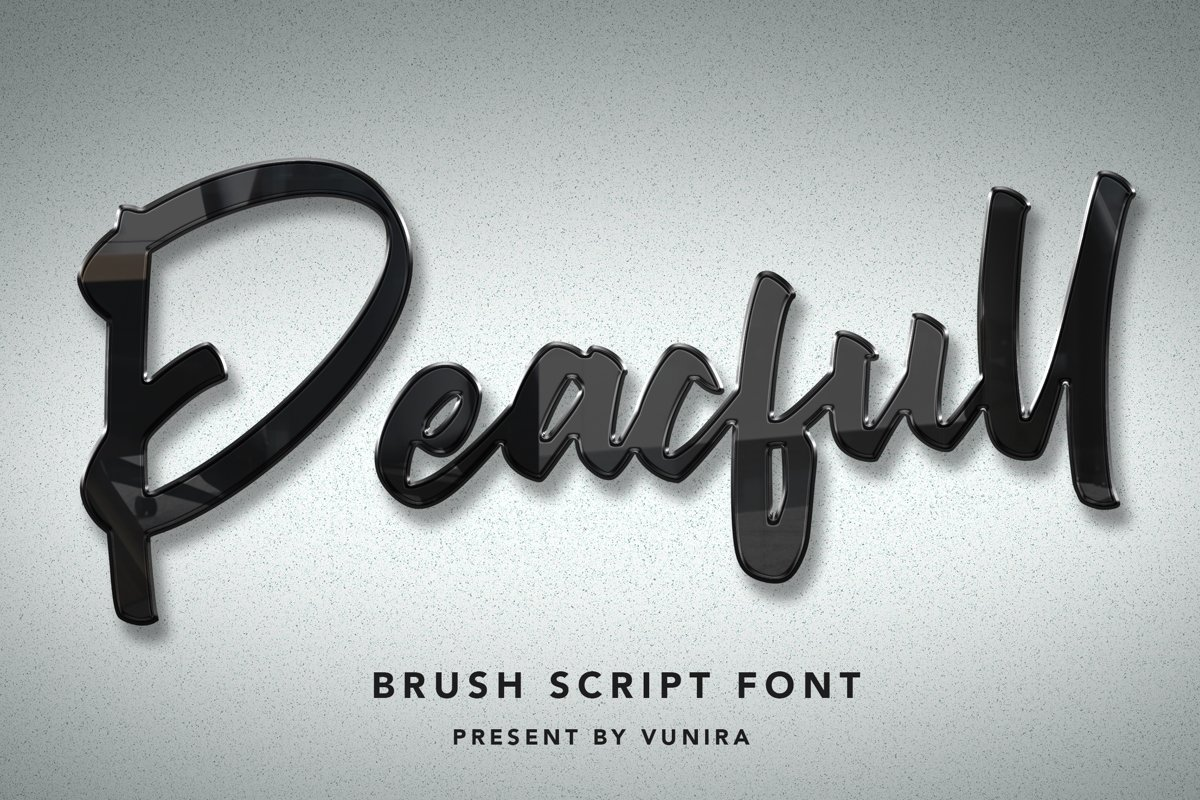 Peacfull | Brush Script Font example image 1