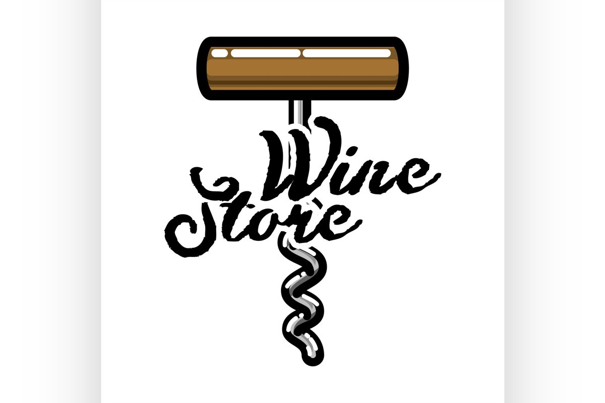 Color vintage wine store emblem example image 1