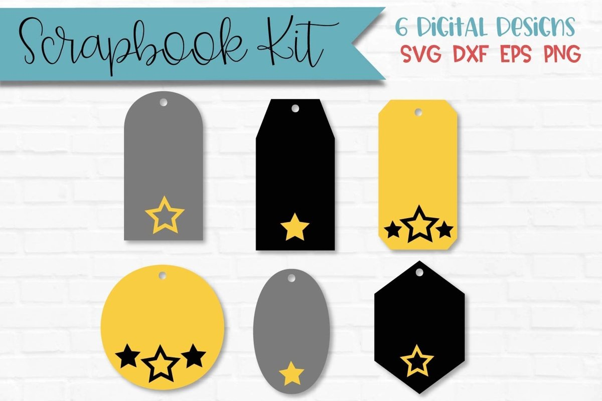 Star Tags Scrapbook Kit example image 1