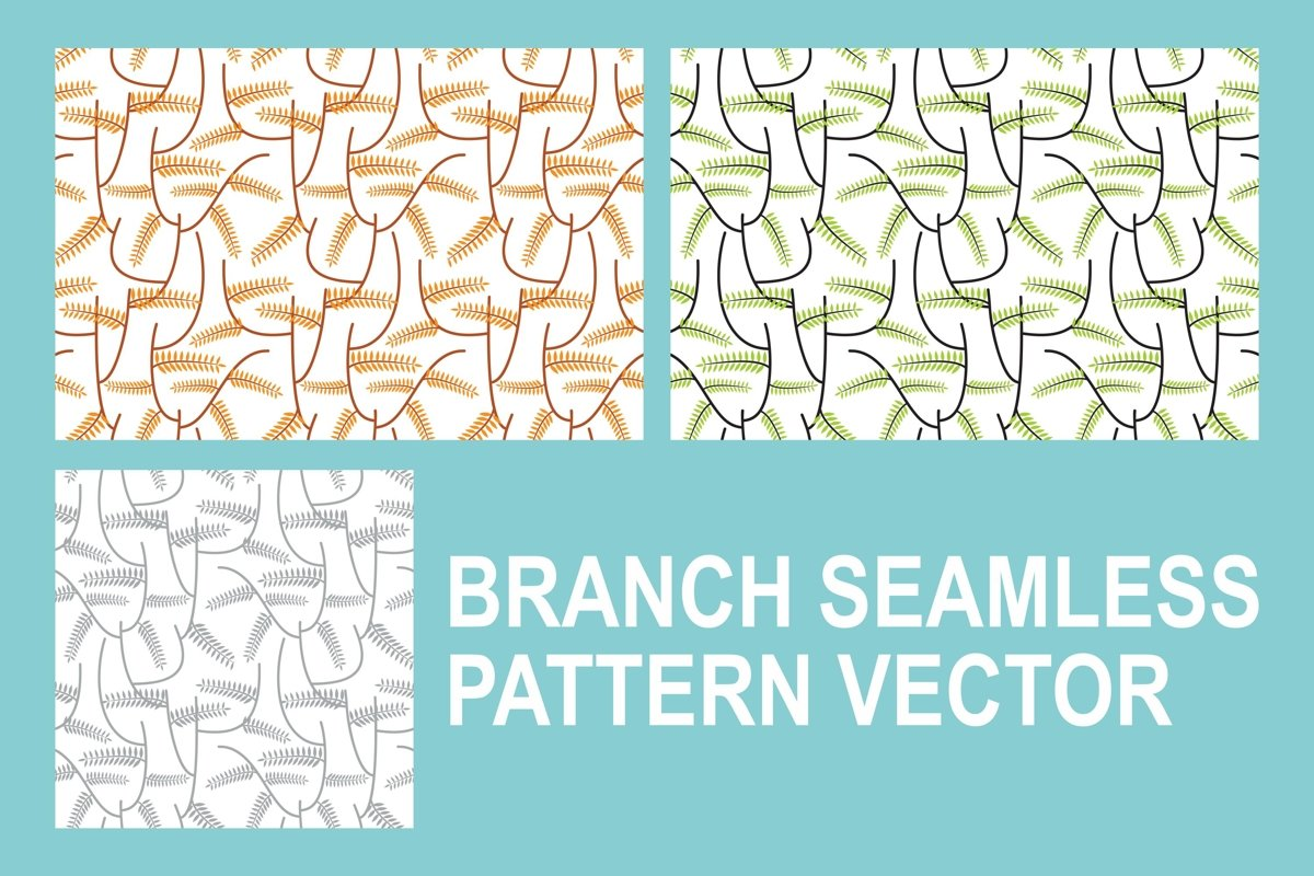 Branch Seamless Pattern Vector Set example image 1
