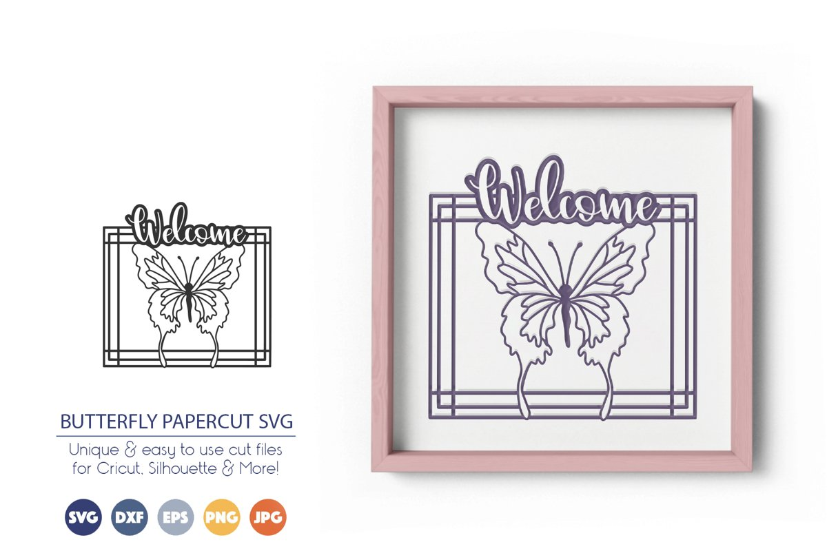 Butterfly Paper Cut SVG | Welcome Sign SVG example image 1