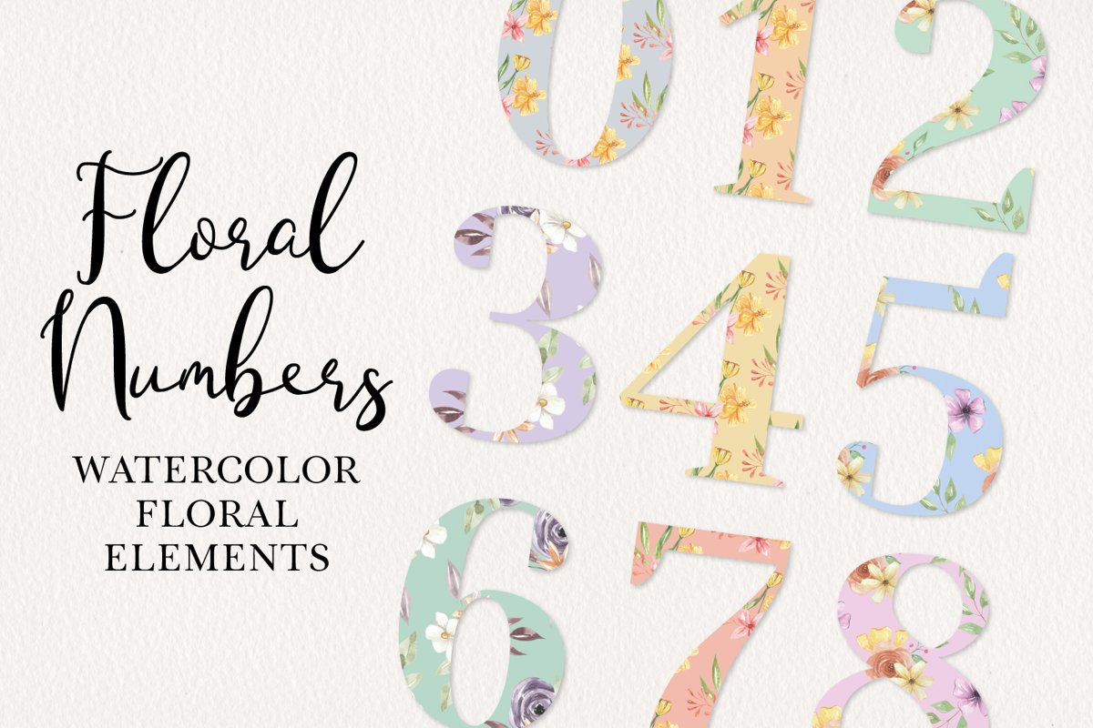 Floral Watercolor Numbers Elements Flowers Zero - 9 Pastel example image 1