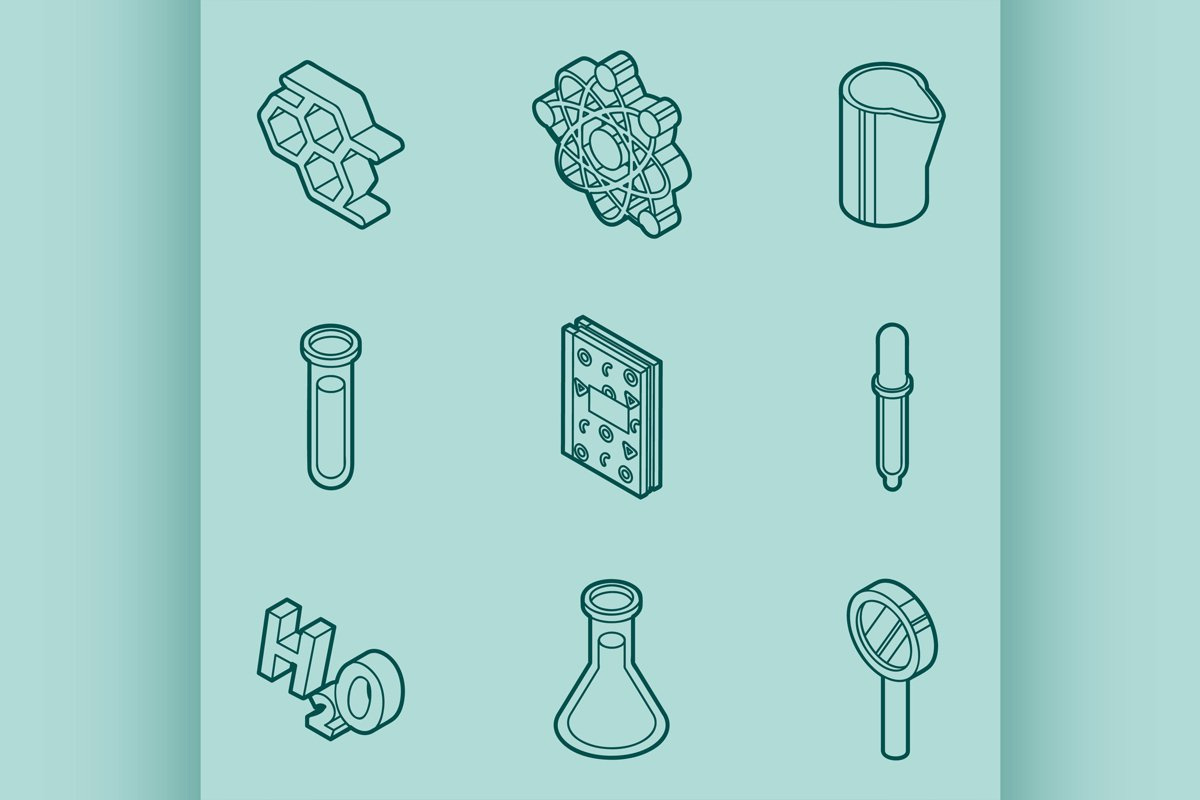 Chemical color outline isometric icons example image 1