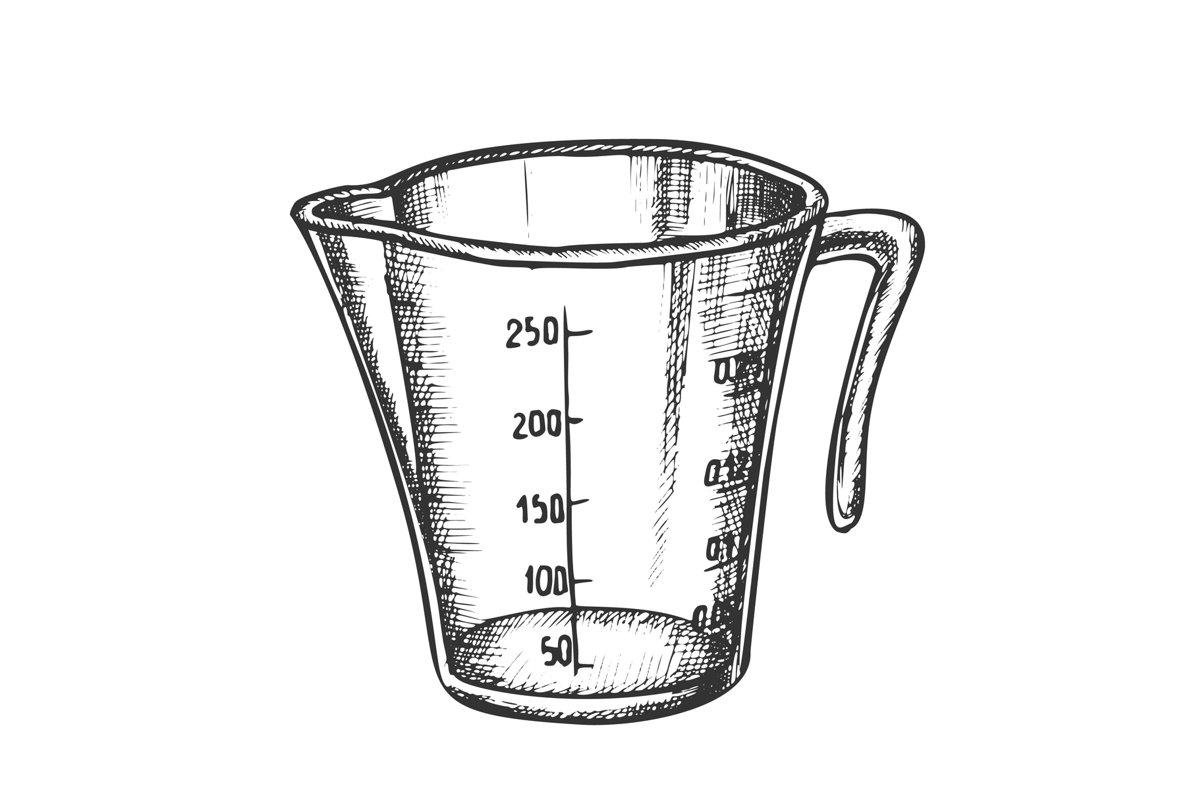 Measuring Cup For Baking And Cooking Ink Vector example image 1