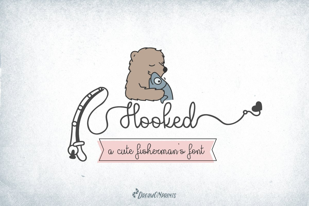 Hooked - A Fishing Font example image 1