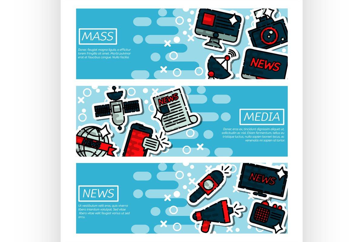 Set of Horizontal Banners about mass media example image 1