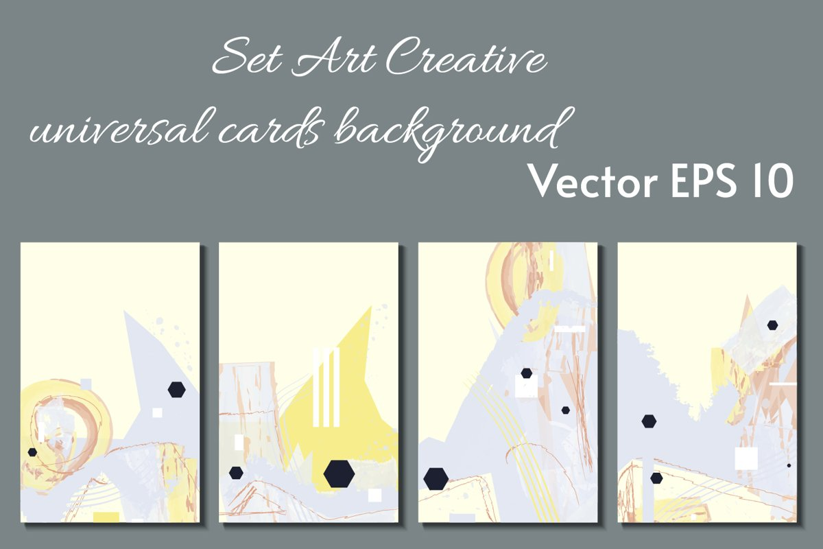 ART paslel colors card templates SET eps 10 example image 1