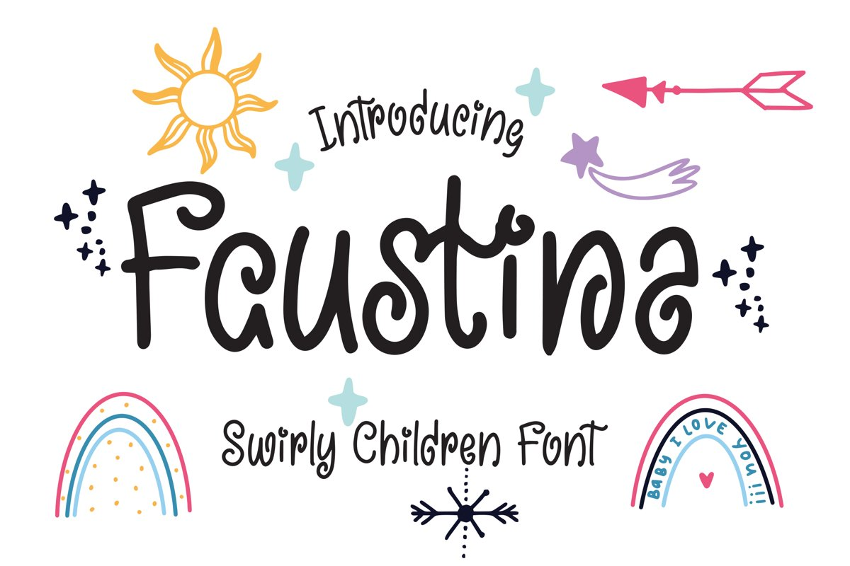 Faustina - Swirly Children Font example image 1