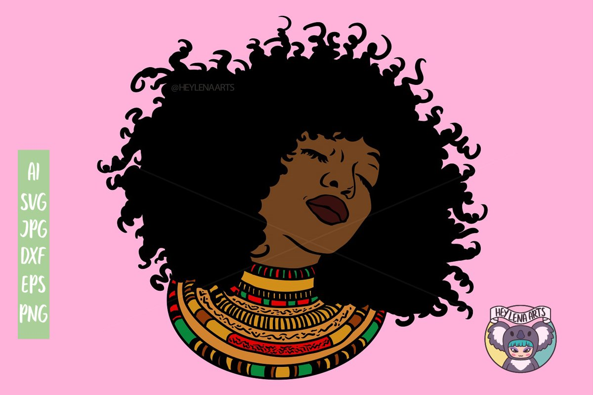 Black Woman svg, Afro svg, Cricut Cut Files, dxf example image 1