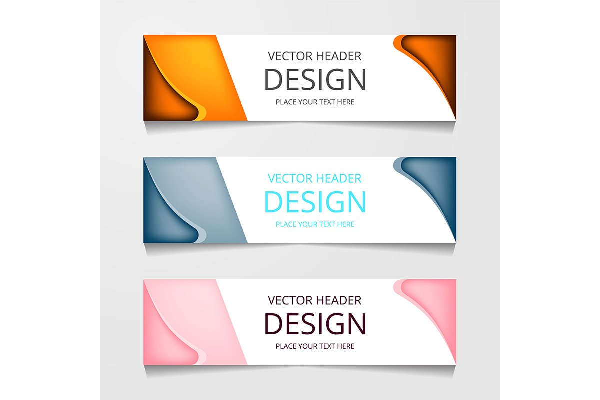 set abstract horizontal web banner example image 1