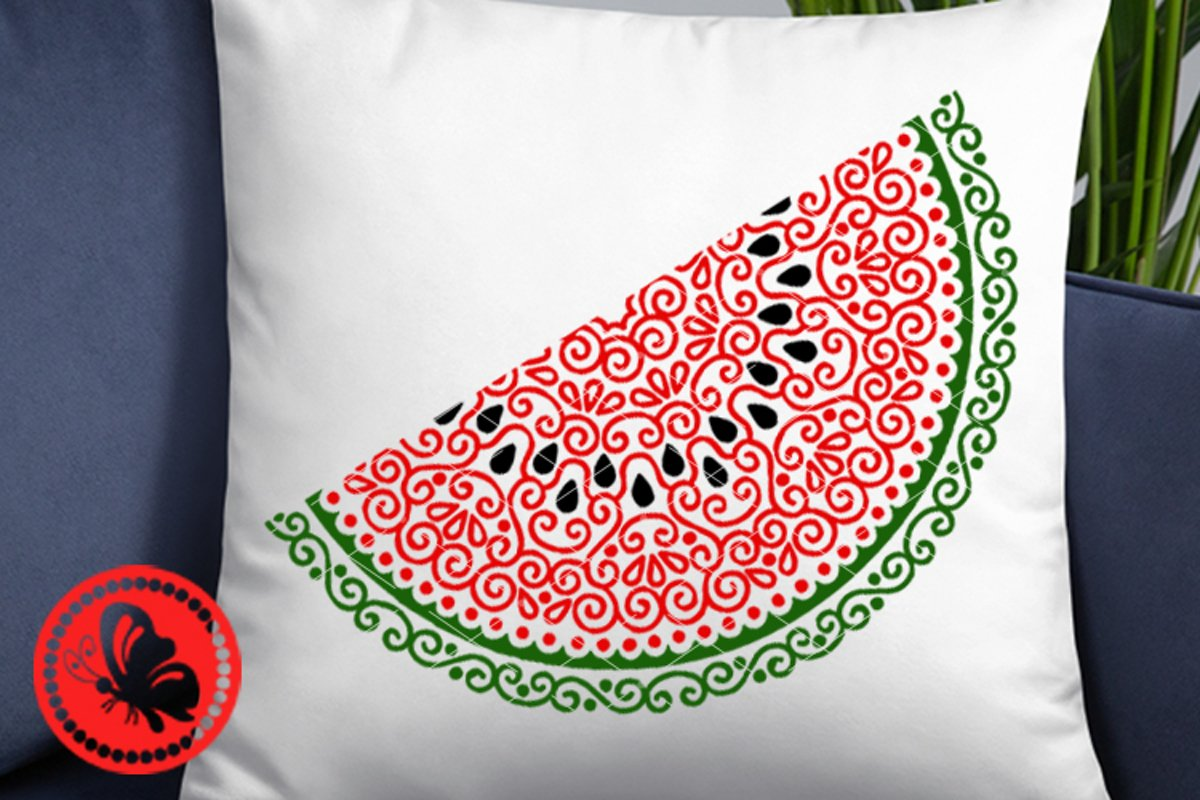Watermelon mandala svg Monogram Zentangle Fruit slice png example image 1