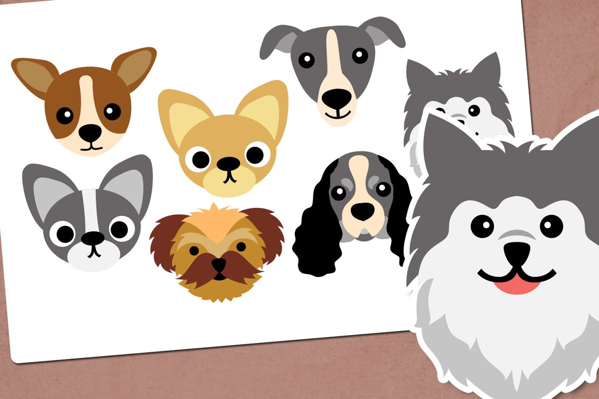 Dog face illustration clip art example image 1