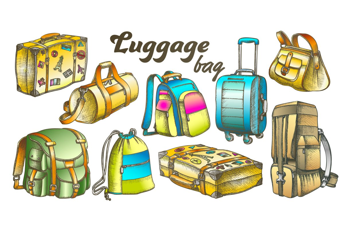 Luggage Collection Color Set Vector example image 1