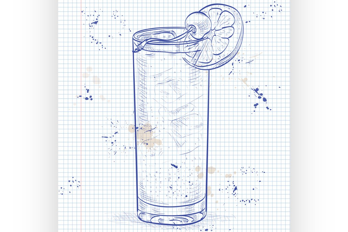 Cocktail John Collins on a notebook page example image 1