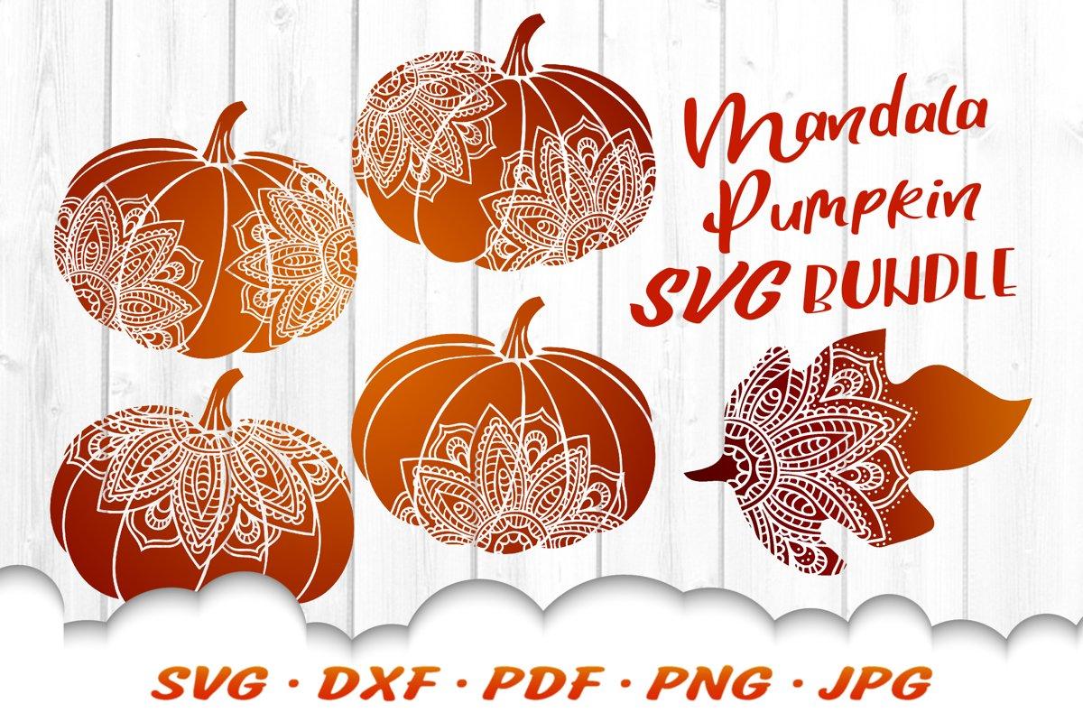 Mandala Pumpkin SVG DXF Fall Cut Files Bundle example image 1