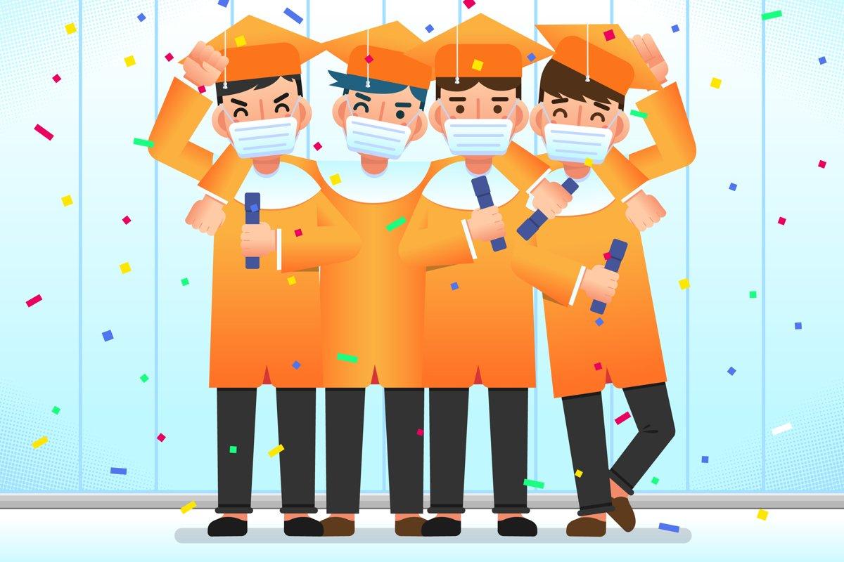 Graduates Wearing Medical Masks example image 1