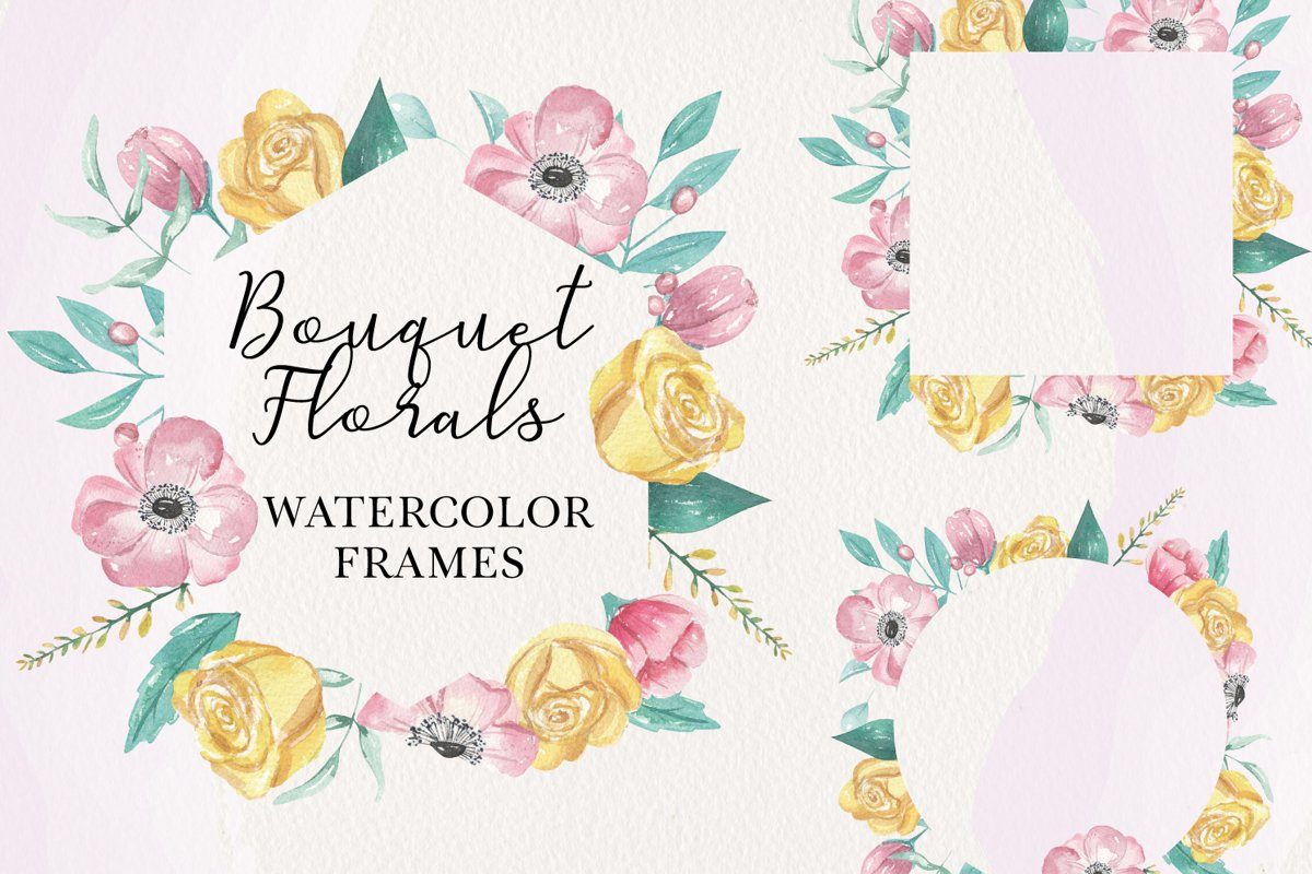 Pink Florals 8 Frames Watercolors Flowers Yellow example image 1