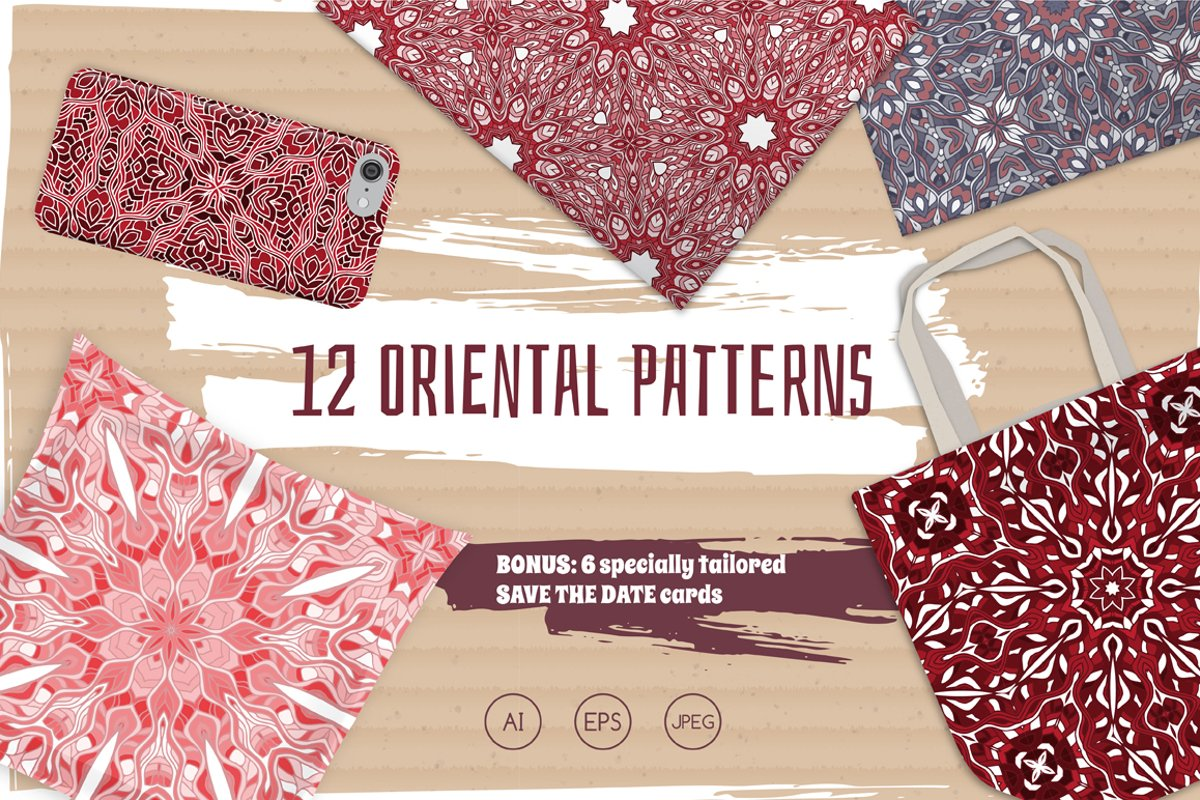 Set of 12 oriental seamless patterns example image 1