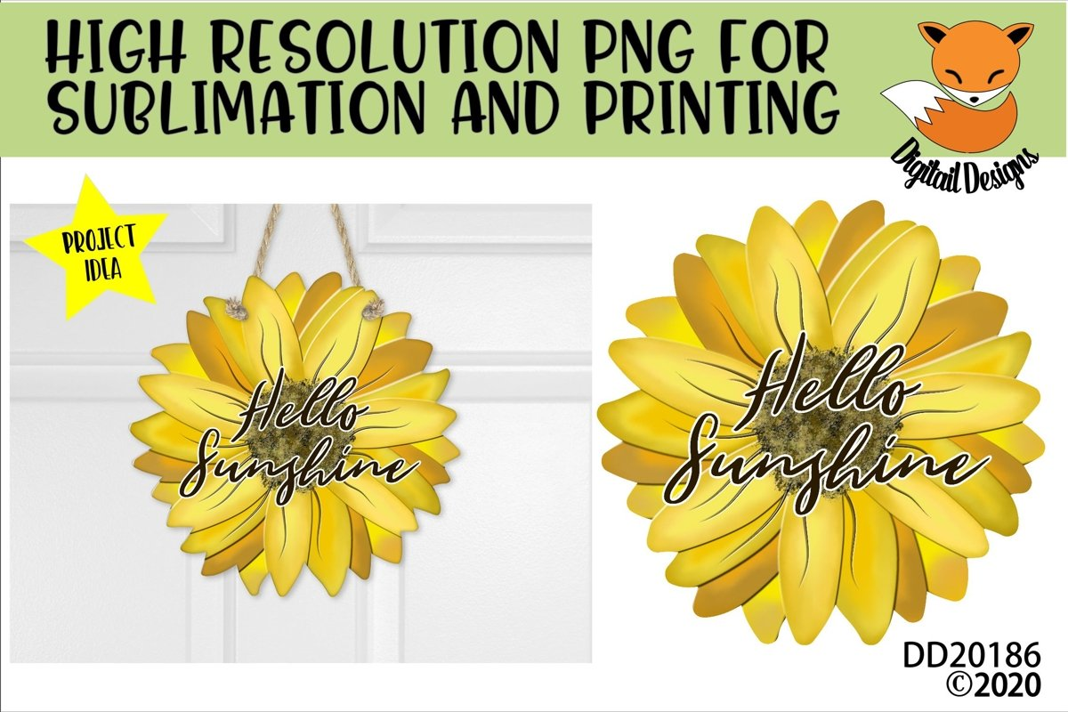Hello Sunshine Sunflower PNG for Sublimation example image 1