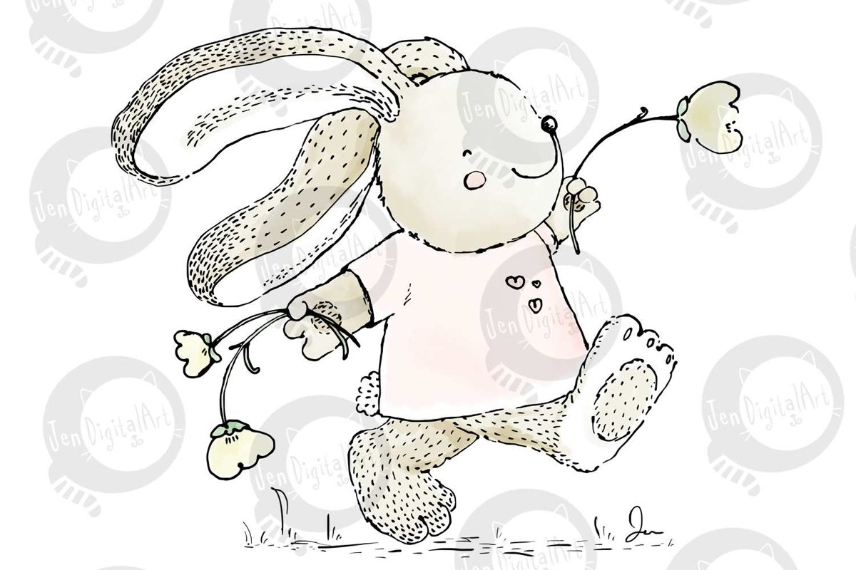 Cute 'Rabbit Skipping with Flowers' | Clip Art Illustration example image 1