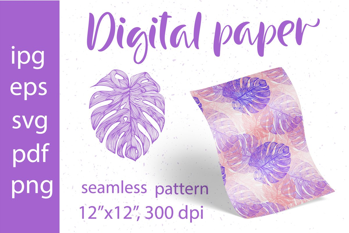Tropical Leaves. Digital Paper SVG.Seamless pattern Monstera example image 1