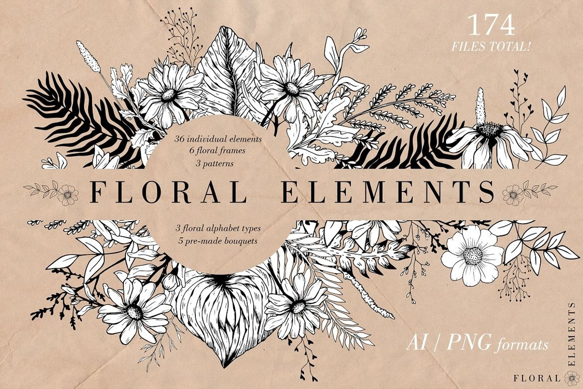 Hand-drawn Graphic Floral Collection example image 1