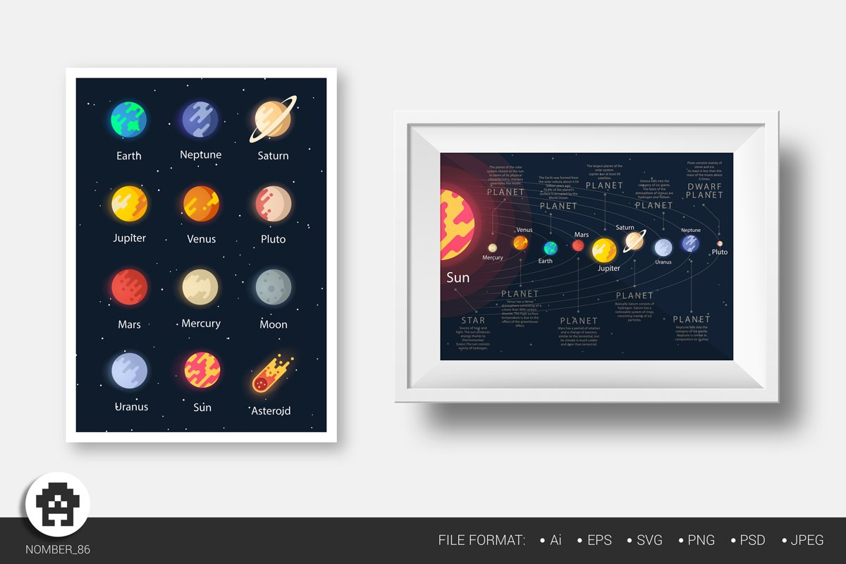 Svg planets and moon of the solar system. Space bundle. example image 1