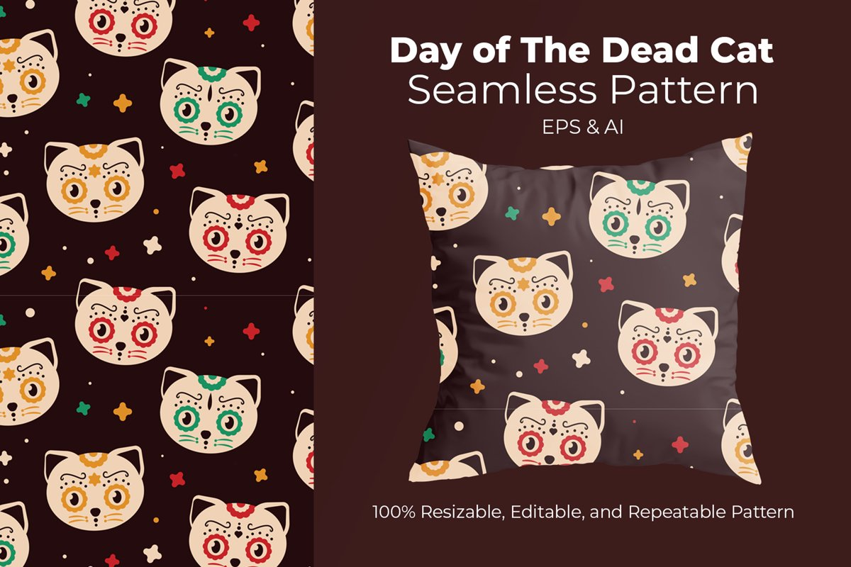 Day Of The Dead Cat - Seamless Pattern example image 1